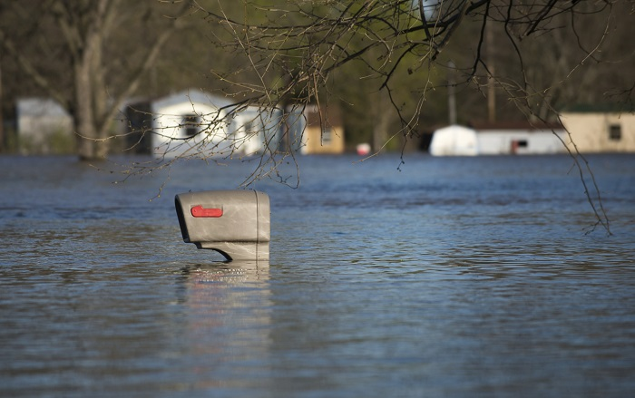 Mailbox Surrounded by Floodwaters